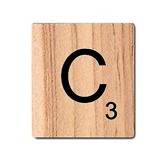 Black Wooden Scrabble Letters with Printed Numbers and Alphabets -C