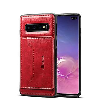 Para Samsung Galaxy S10+ Plus Case, Red Horse Texture PU Leather Wallet Cover