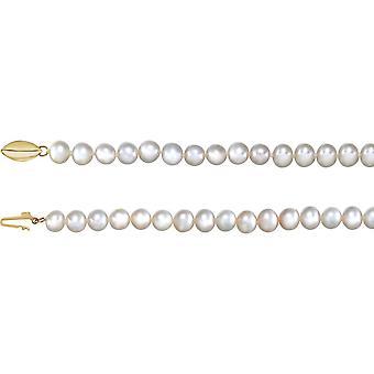 14k gult gull 5 til 05,5 mm halskjede 18 tommers polert panache ferskvann semi runde smykker gaver til kvinner
