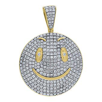 925 Sterling Silver Men Two tone Cubic Zirconia Emboli Smiley Pendant Charm Jewelry Gifts for Men
