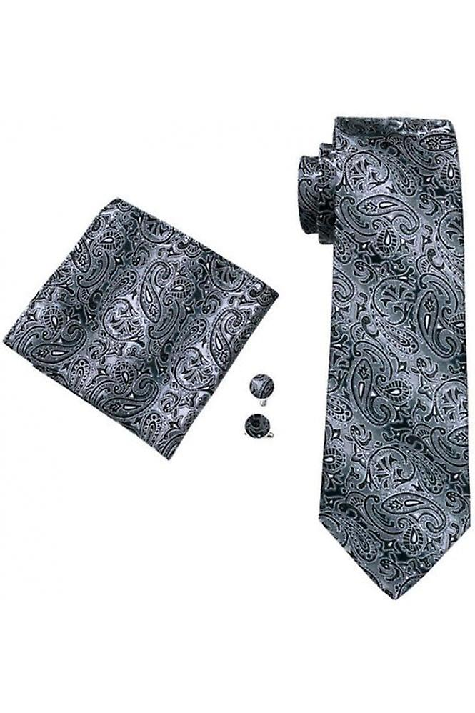 JSS Grey & Black Paisley Patterned Pocket Square, Cufflink And Tie Set