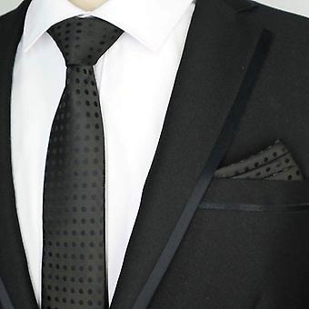 Back polka dot necktie designer tie & pocket square set