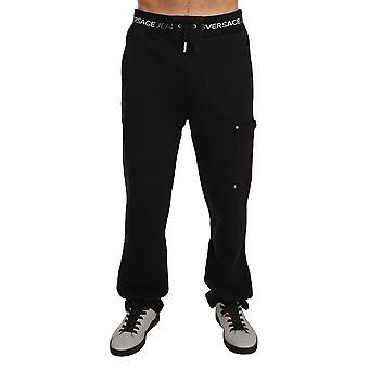 Versace Jeans Training Sport Gym Black Cotton Trousers