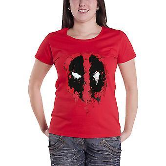 المرأة الرسمية Deadpool تي قميص Splat وجه جديد مارفل بريك الأحمر نحيف صالح