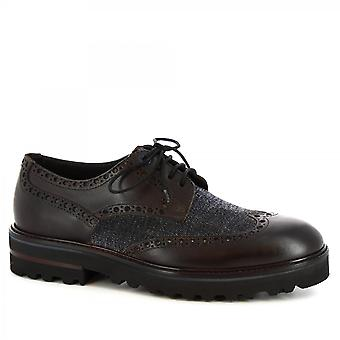 Leonardo Shoes Men's handmade casual lace-ups shoes in black gray calf leather