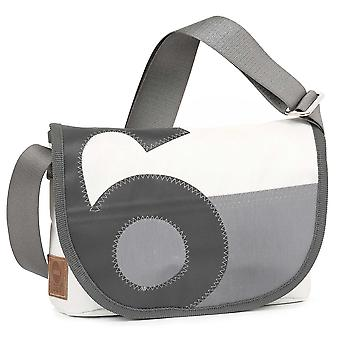 360 degrees women's bag shoulder bag pearl grey/white with number and strap in grey canvas maritim