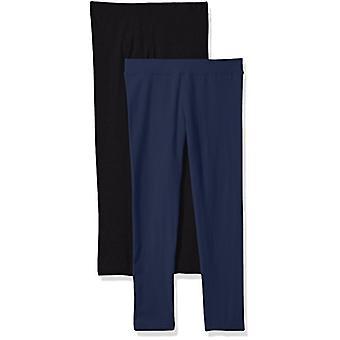 Clementine Apparel Big Ultra Soft 2 Pack Leggings for Girls, Black/Navy, 5