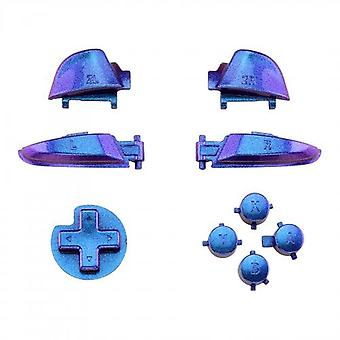 Button set for nintendo switch pro controller replacement a b x y, d-pad, l r zr zl triggers - chameleon red purple blue | zedlabz