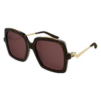 Cartier Panthère de Cartier CT0117S 002 Havana/Red Sunglasses