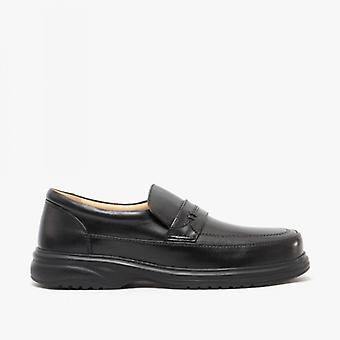 Roamers Mitch mens läder wide Fit penny loafers svart