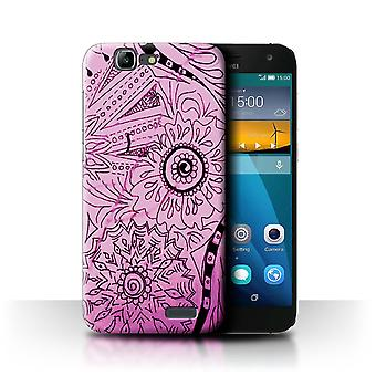 STUFF4 Case/Cover for Huawei Ascend G7/Pink/Black/Henna Paisley Flower