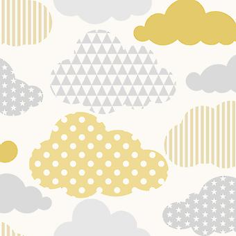 Clouds Wallpaper Yellow / Grey Graham and Brown 108267
