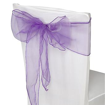 17cm x 274cm Organza Table Runners Wider & Fuller Sashes Dark Purple