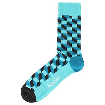 Happy Socks Filled Optic Socks - Turquoise/Blue/Black