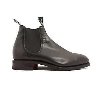 RM Williams Craftsman Rubber Sole Black Leather Mens Pull On Chelsea Boots