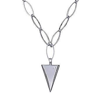 "Annaleece Silvertone Open Link 16/18"" Necklace with Triangular Pendant"
