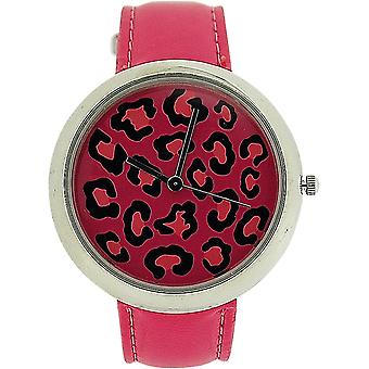 Zaza London Leopard Dial Pink Leather Strap Ladies Watch LLB851