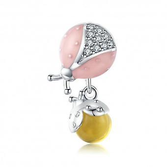 Sterling Sølv Vedhæng Charm Mariehøne med frugt - 6369