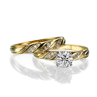 1 1/2 قيراط ز VS2 الماس خاتم الخطوبة ك 14 حلقة خمر الذهب الأصفر العرسان مجموعة مشاركة