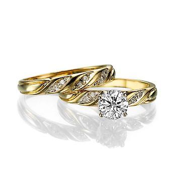 1 1/2 karat G VS2 diamant Engagement Ring 14k gul guld Vintage Ring Brude Engagement sæt
