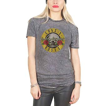 Guns N Roses T Shirt Classic Bullet Band Logo Official Womens Charcoal Burn Out