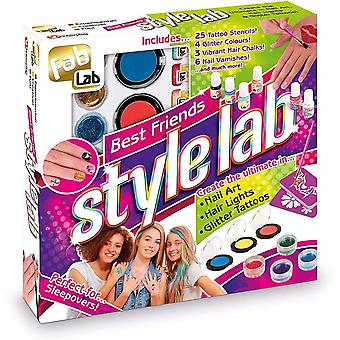 FabLab Best Friends Style Lab Set with vibrant nail polish, hair chalk and