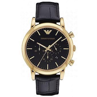 Emporio Armani AR1917 Luigi Black Dial Chronograph Black Leather Men's Watch