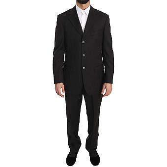 Gray Solid Two Piece 3 Button Wool Jacket Suit