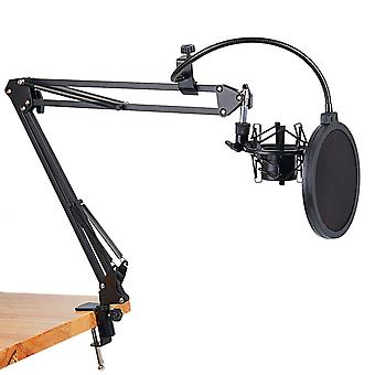 Microphone Scissor Arm Stand And Table Mounting Clamp With Filter Windscreen Shield & Metal Mount Kit