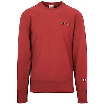 Champion Reverse Weave Red Logo Sweatshirt