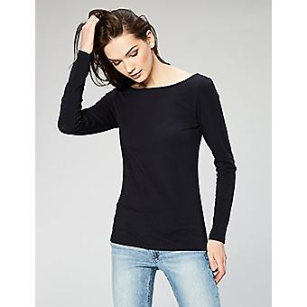 Marca - Daily Ritual Women's Stretch Supima Long-sleeve Ballet Back T-Shirt, Black/Navy, Small