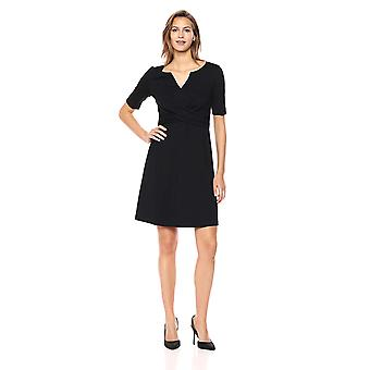 Merk - Lark & Ro Women's Half Sleeve Twist Front Fit and Flare Dress, Zwart, 6
