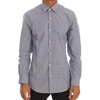 Blau gestreifter Baumwolle Slim Fit Hemd--TSH1730096
