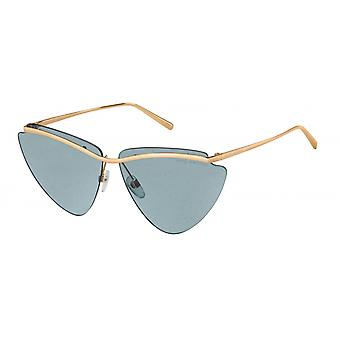Sonnenbrille Damen    schmetterling gold/blau glitter