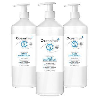 70% Alkohol Hand Sanitiser Gel - 3x 1L liter pumpflaska - Certifierad kirurgisk / medicinsk kvalitet - Tillverkad i Storbritannien