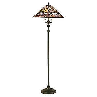 Interieurs Bernwood - 2 Light Floor Lamp Dark Bronze, Tiffany Glass, E27