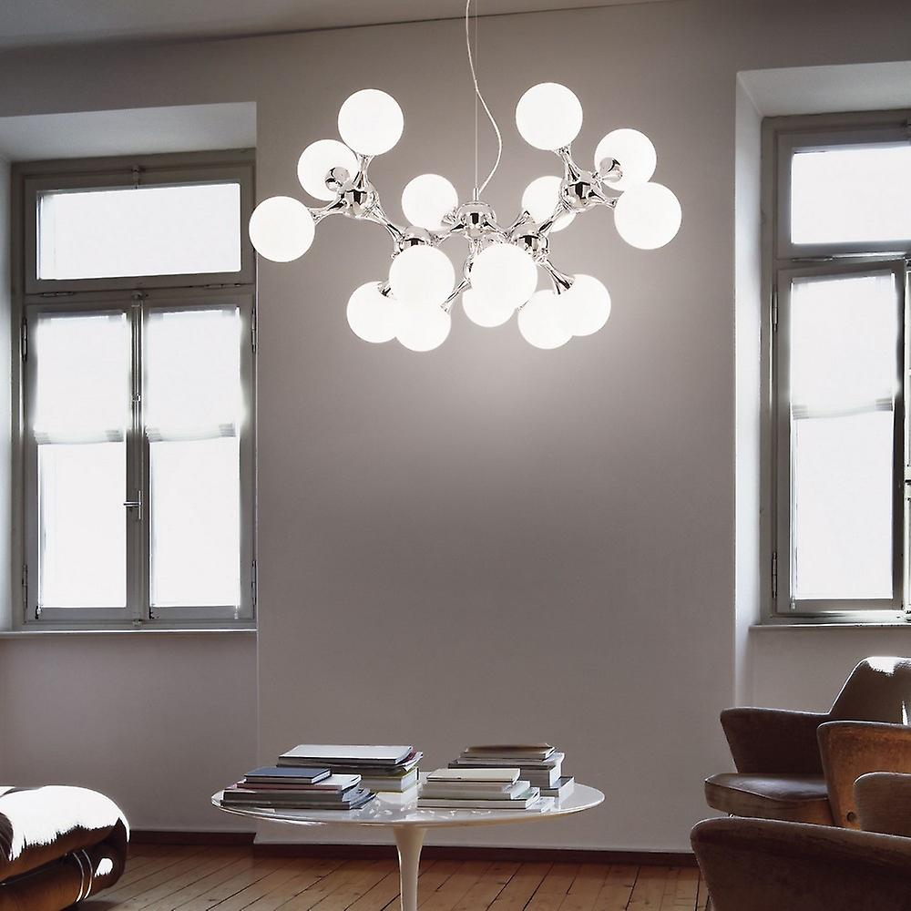 Ideal Lux Nodi Bianco - 15 Light Large Molecular Ceiling Pendant Chrome, E14
