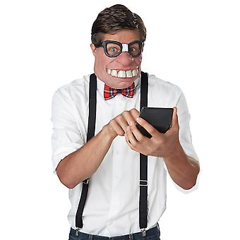 Geeked Out Nerd 1950s Cartoon Funny Men Costume Half Face Mask