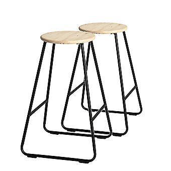 2-osainen puinen baarijakkarasetti - Aamiainen Kitchen Island Counter Ruokailutuoli - Musta / Mänty