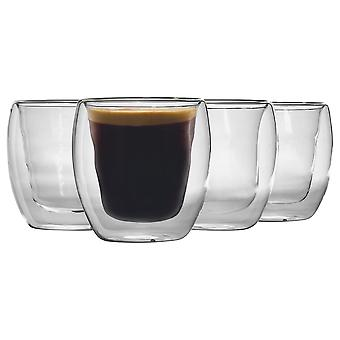 Rink Drink 4 Piece Double Walled Tea Coffee Cup Set - Double Wall Isolated Latte Glasses - 220ml
