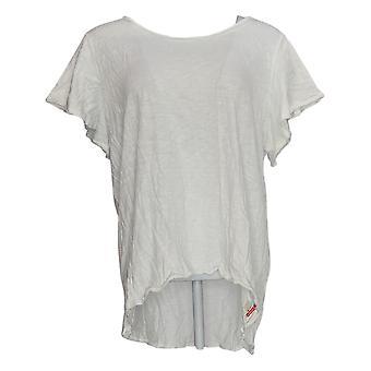 Peace Love World Women's Top Flutter Sleeve Knit Tee White A370630