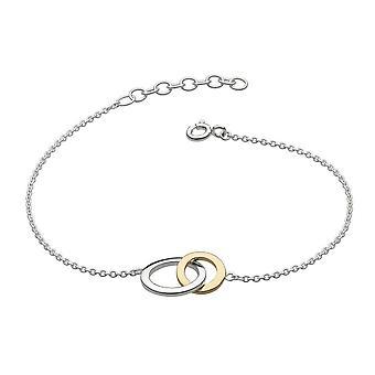 Dew Sterling Silver Set Linked Circle Gold Plate 7.5 Bracelet 7694GD021