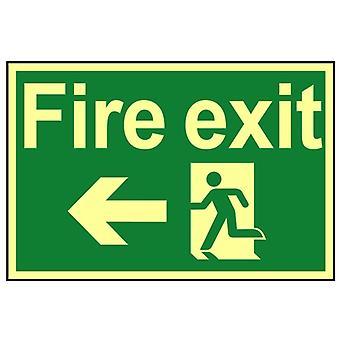 Scan Fire Exit Running Man Arrow Left - Photoluminescent 300 x 200mm SCA1583