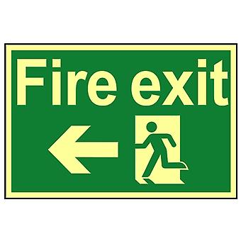 Skenovanie Fire Exit Running Man Arrow Vľavo - Fotoluminiscenčné 300 x 200mm SCA1583