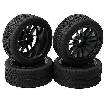 RC 1:10 On-Road Racing Car 14-Spoke Wheel Rim + Rubber Tyre Set of 4