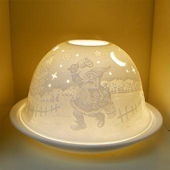 Nordic Lights Xmas Snowman Tealight Candle Shade & Tray
