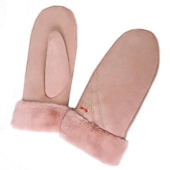 Warme Winterhandschuhe in Wildleder Nachahmung für Kinder Pink