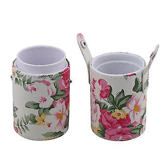 Peony Pattern PU Leather Cup Makeup Brush Holder Case 18 x 18 x 7cm