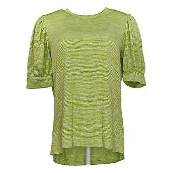 DG2 di Diane Gilman Women's Top Green Striped Tunic Polyester 721-456