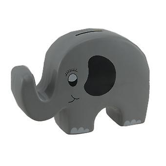 Whimsical Gray Ceramic Elephant Kids Money Bank